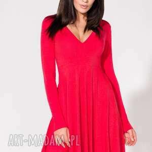 dzianina sukienki sukienka z dekoltem, t146, czerwona