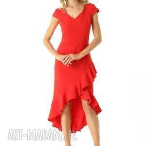 hand-made sukienki elegancka-sukienka sukienka z dłuższym tyłem naomi