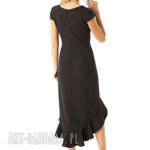 Sukienka z dłuższym tyłem Naomi czarna - elegancka