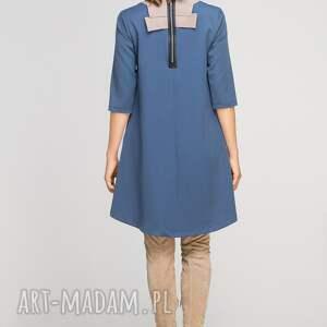 turkusowe sukienki casual sukienka z dłuższym tyłem, suk148
