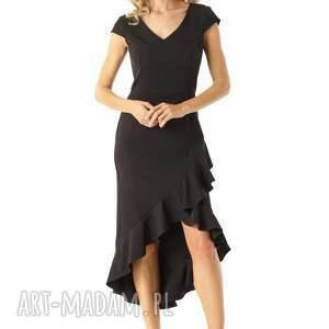 unikatowe sukienki koktajlowa sukienka elegancka z dłuższym tyłem i dekoltem