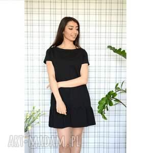 oryginalne sukienki dzianina sukienka z falbaną s/m/l/xl czarna