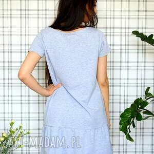 sukienki dzianina sukienka z falbaną s/m/l/xl szary