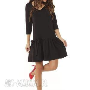sukienki: Sukienka z falbaną i kokardą czarna - midi dzianinowa