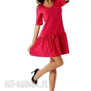 sukienki dzianinowa-sukienka sukienka z falbaną i kokardą