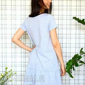 handmade sukienki eko sukienka z falbaną s/m/l/xl szary