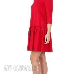 sukienka sukienki czerwone z falbaną czerwona