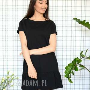 sukienka z falbaną s/m/l/xl czarna lekka