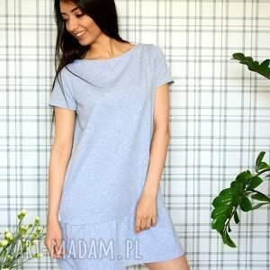 handmade sukienki dzianina sukienka z falbaną s/m/l/xl szary