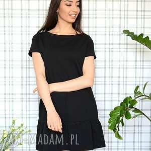 oryginalne sukienki eko sukienka z falbaną s/m/l/xl czarna