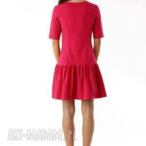 dzianinowa-sukienka sukienki sukienka z falbaną i kokardą