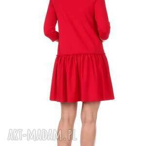 zielone sukienki rozkloszowana sukienka z falbaną czerwona
