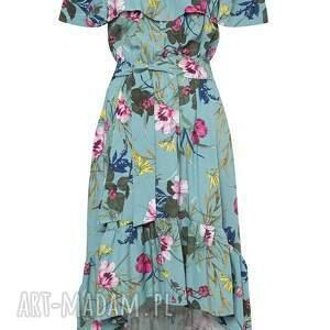 wyjątkowe sukienki midi sukienka z falbaną w kwiaty