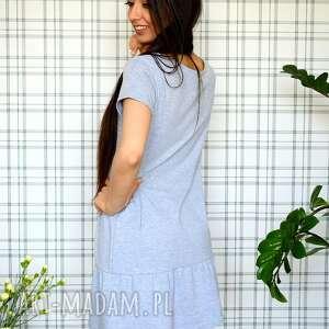 dzianina sukienki sukienka z falbaną s/m/l/xl szary