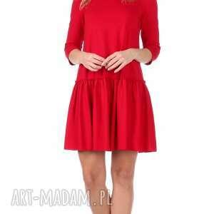 atrakcyjne sukienki trapez sukienka z falbaną czerwona