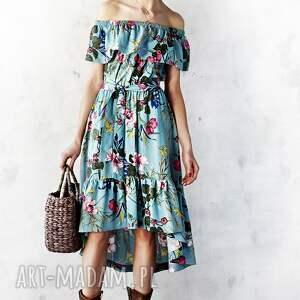 midi sukienki sukienka z falbaną w kwiaty