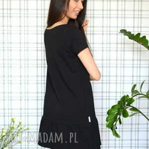 sukienki eko sukienka z falbaną s/m/l/xl czarna