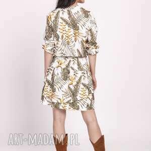 białe sukienki liście sukienka z falbanką, suk174 liscie