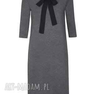 szara sukienki sukienka z kokardą
