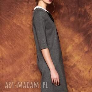 sukienki szara sukienka z kokard&#261