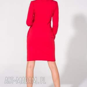 dzianina sukienki sukienka z kominem, t147, czerwona