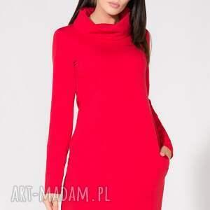 sukienki dzianina sukienka z kominem, t147, czerwona