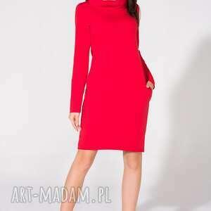 trendy sukienki sukienka z kominem, t147, czerwona