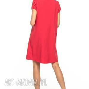 czerwone sukienki sukienka z kontrafałdą przodu