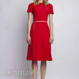ręczne wykonanie sukienki czerwona sukienka z krótkim rękawem, suk128