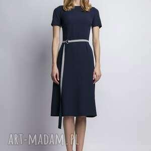 frapujące sukienki granat sukienka z krótkim rękawem, suk128