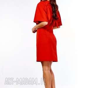 sukienki: Sukienka z luźną górą Diana czerwona - koktajlowa elegancka