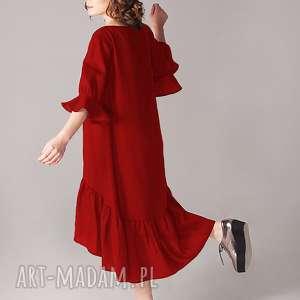 hand made sukienki czerwień sukienka z marszczoną falbaną