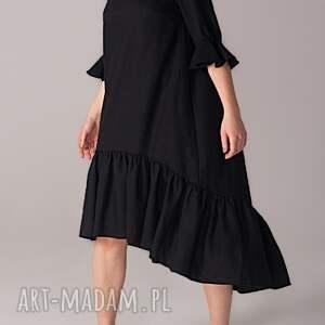 handmade sukienki wełniana sukienka z marszczoną falbaną