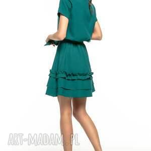 sukienki: Sukienka z ozdobną falbanką na spódnicy, T267, zielony