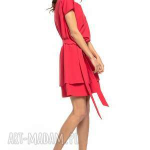 sukienki elegancka sukienka z podwójną spódnicą, t268,