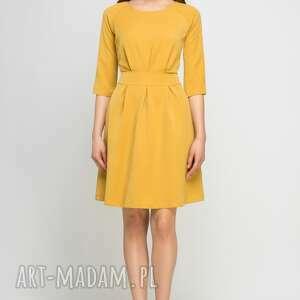 pomarańczowe sukienki rozkloszowana sukienka z rozkloszowanym dołem