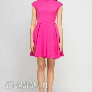 sukienki amarant sukienka ze stójką, suk143 fuksja