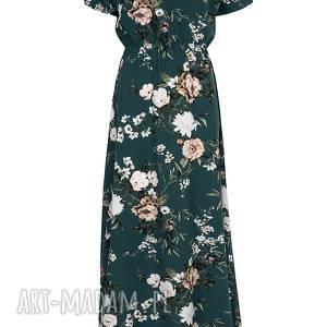 ręcznie zrobione sukienki sukienka zielona maxi w kwiaty