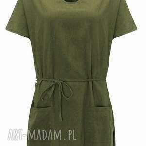 sukienki: sukienka zielona na lato - len