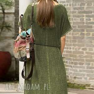 sukienki: sukienka zielona na lato - len len