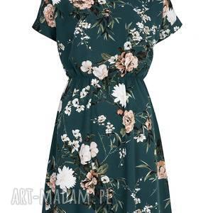 sukienki wiskoza sukienka zielona w kwiaty
