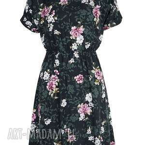 sukienki sukienka zielona w różowe