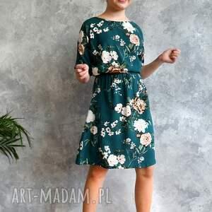 wiskoza sukienka zielona w kwiaty