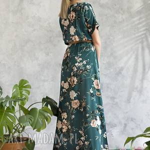 wiskoza sukienka zielona maxi w kwiaty