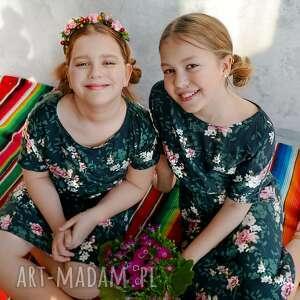 awangardowe sukienki wiskoza sukienka zielona w różowe
