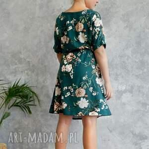 efektowne wiskoza sukienka zielona w kwiaty