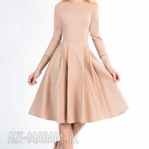kieszenie sukienki sukienka zuza midi cappucino