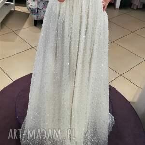 srebrne sukienki panna młoda suknia ślubna nowa, model z salonu