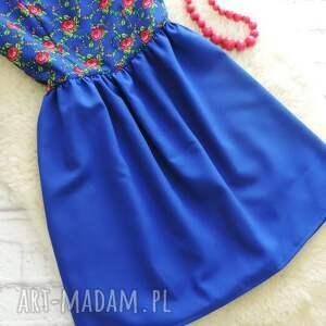 niebieskie sukienki szafirowa sukienka drobny wzór
