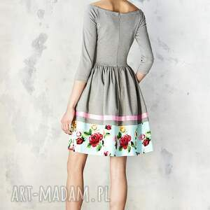 hand made sukienki sukienka szara hiszpanka z kwiatową